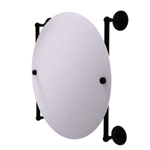Monte Carlo Matte Black 22-Inch Round Frameless Rail Mounted Mirror