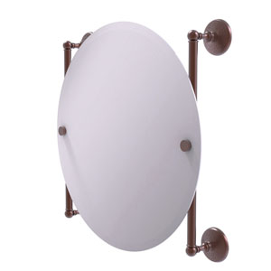 Monte Carlo Antique Copper 22-Inch Round Frameless Rail Mounted Mirror