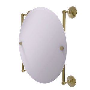 Monte Carlo Unlacquered Brass 22-Inch Round Frameless Rail Mounted Mirror