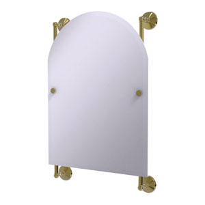 Monte Carlo Unlacquered Brass 21-Inch Arched Top Frameless Rail Mounted Mirror