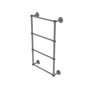 Monte Carlo Matte Gray 30-Inch Four Tier Ladder Towel Bar with Dotted Detail