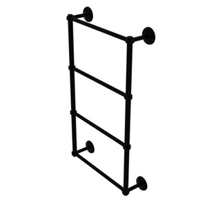 Monte Carlo Matte Black 36-Inch Four Tier Ladder Towel Bar with Groovy Detail