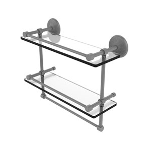 Monte Carlo Matte Gray 16-Inch Double Glass Shelf with Towel Bar
