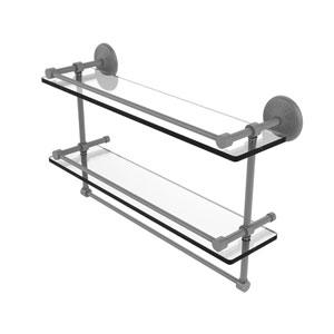 Monte Carlo Matte Gray 22-Inch Double Glass Shelf with Towel Bar