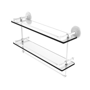 Monte Carlo Matte White 22-Inch Double Glass Shelf with Towel Bar