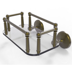 Monte Carlo Antique Brass Eight-Inch Wall Mounted Glass Guest Towel Tray