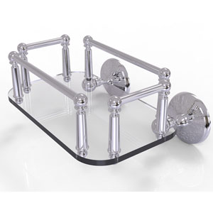 Monte Carlo Polished Chrome Eight-Inch Wall Mounted Glass Guest Towel Tray