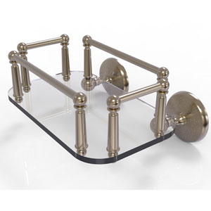 Monte Carlo Antique Pewter Eight-Inch Wall Mounted Glass Guest Towel Tray
