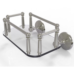 Monte Carlo Satin Nickel Eight-Inch Wall Mounted Glass Guest Towel Tray