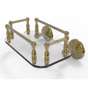 Monte Carlo Unlacquered Brass Eight-Inch Wall Mounted Glass Guest Towel Tray