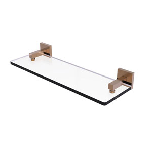 Montero Brushed Bronze 16-Inch Glass Vanity Shelf with Beveled Edges