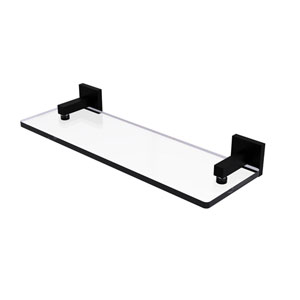 Montero Matte Black 16-Inch Glass Vanity Shelf with Beveled Edges