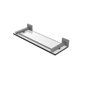 Montero Matte Gray 16-Inch Glass Shelf with Gallery Rail