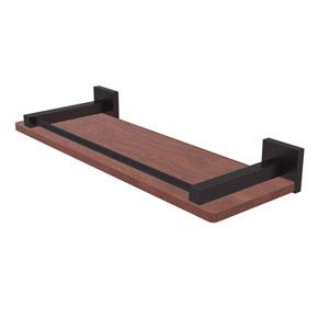 Montero Antique Bronze 16-Inch Solid IPE Ironwood Shelf with Gallery Rail