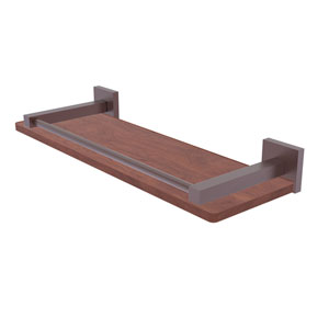 Montero Antique Copper 16-Inch Solid IPE Ironwood Shelf with Gallery Rail
