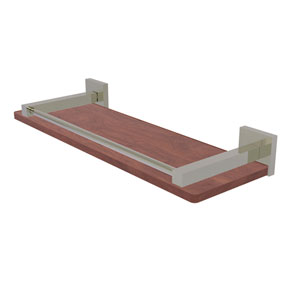 Montero Polished Nickel 16-Inch Solid IPE Ironwood Shelf with Gallery Rail