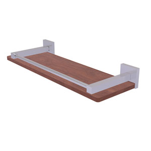 Montero Satin Chrome 16-Inch Solid IPE Ironwood Shelf with Gallery Rail
