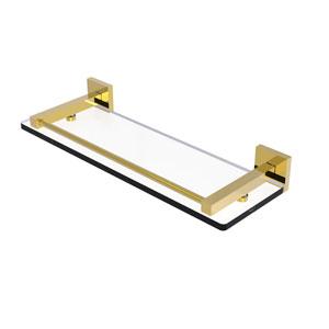 Montero Polished Brass 16-Inch Glass Shelf with Gallery Rail