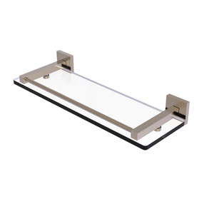 Montero Antique Pewter 16-Inch Glass Shelf with Gallery Rail