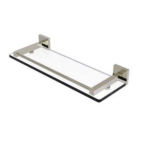Montero Polished Nickel 16-Inch Glass Shelf with Gallery Rail