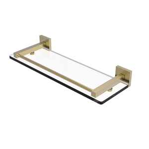Montero Satin Brass 16-Inch Glass Shelf with Gallery Rail