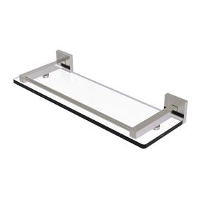 Montero Satin Nickel 16-Inch Glass Shelf with Gallery Rail