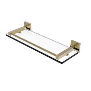 Montero Unlacquered Brass 16-Inch Glass Shelf with Gallery Rail