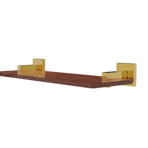 Montero Polished Brass 16-Inch Solid IPE Ironwood Shelf