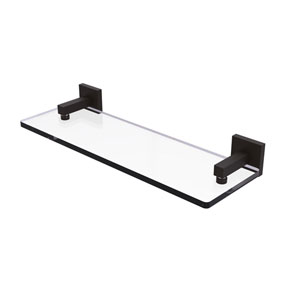 Montero Oil Rubbed Bronze 16-Inch Glass Vanity Shelf with Beveled Edges