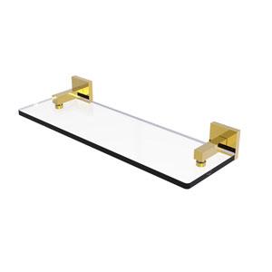 Montero Polished Brass 16-Inch Glass Vanity Shelf with Beveled Edges
