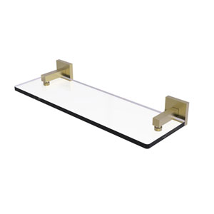 Montero Satin Brass 16-Inch Glass Vanity Shelf with Beveled Edges