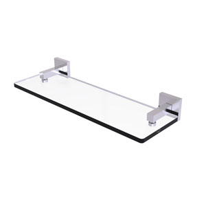 Montero Satin Chrome 16-Inch Glass Vanity Shelf with Beveled Edges