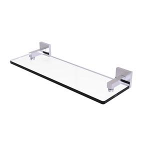 Montero Satin Chrome 16-Inch Glass Vanity Shelf with Beveled Edges
