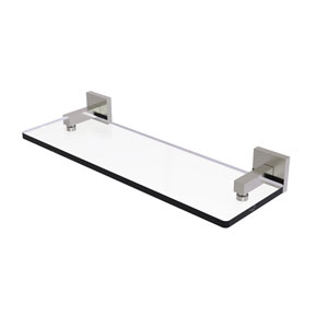 Montero Satin Nickel 16-Inch Glass Vanity Shelf with Beveled Edges