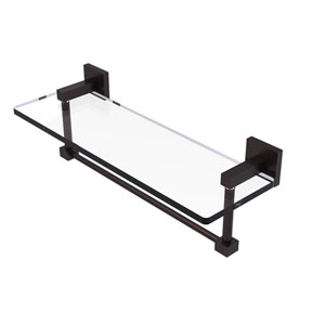 Montero Antique Bronze 16-Inch Glass Vanity Shelf with Integrated Towel Bar
