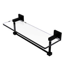 Montero Matte Black 16-Inch Glass Vanity Shelf with Integrated Towel Bar