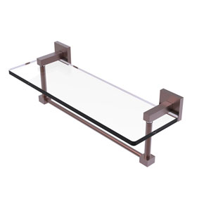 Montero Antique Copper 16-Inch Glass Vanity Shelf with Integrated Towel Bar