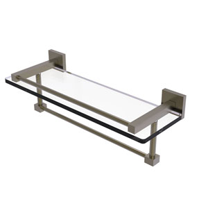 Montero Antique Brass 16-Inch Glass Shelf with Towel Bar
