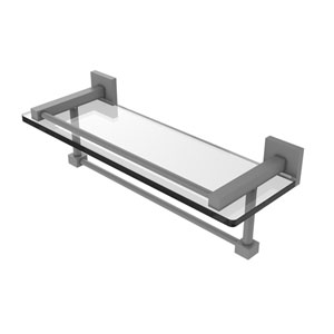 Montero Matte Gray 16-Inch Glass Shelf with Towel Bar