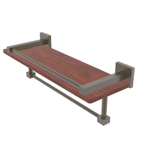 Montero Antique Brass 16-Inch IPE Ironwood Shelf with Gallery Rail and Towel Bar