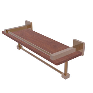 Montero Brushed Bronze 16-Inch IPE Ironwood Shelf with Gallery Rail and Towel Bar