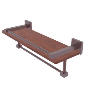 Montero Antique Copper 16-Inch IPE Ironwood Shelf with Gallery Rail and Towel Bar