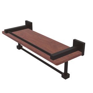 Montero Oil Rubbed Bronze 16-Inch IPE Ironwood Shelf with Gallery Rail and Towel Bar