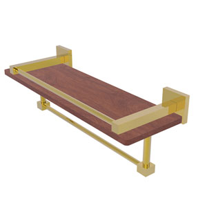Montero Polished Brass 16-Inch IPE Ironwood Shelf with Gallery Rail and Towel Bar