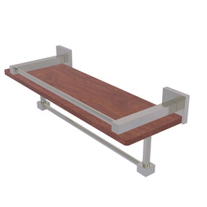 Montero Satin Nickel 16-Inch IPE Ironwood Shelf with Gallery Rail and Towel Bar