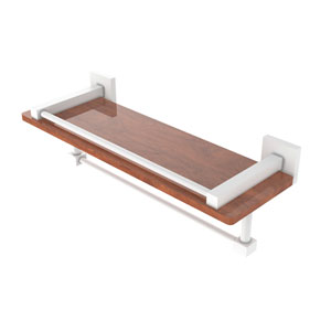 Montero Matte White 16-Inch IPE Ironwood Shelf with Gallery Rail and Towel Bar
