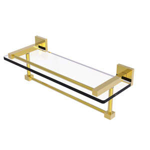 Montero Polished Brass 16-Inch Glass Shelf with Towel Bar