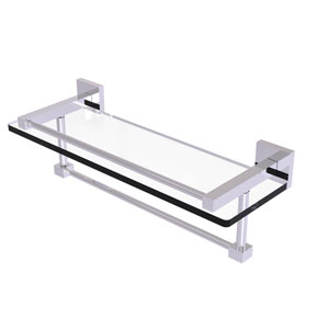 Montero Polished Chrome 16-Inch Glass Shelf with Towel Bar