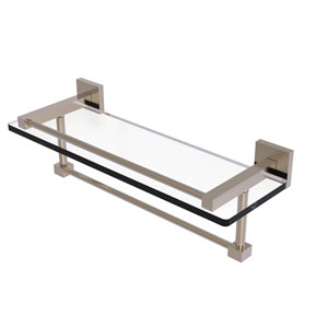 Montero Antique Pewter 16-Inch Glass Shelf with Towel Bar