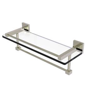 Montero Polished Nickel 16-Inch Glass Shelf with Towel Bar